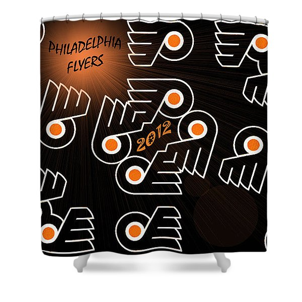 Bleeding Orange And Black - Flyers Shower Curtain