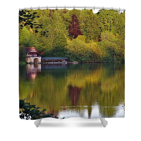 Shower Curtain featuring the photograph Blenheim Palace Boathouse 2 by Jeremy Hayden
