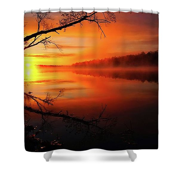 Blind River Sunrise Shower Curtain