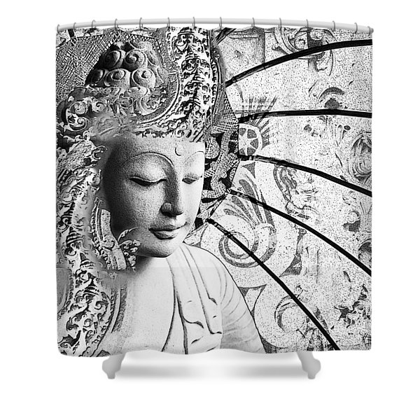 Shower Curtain featuring the digital art Bliss Of Being - Black And White Buddha Art by Christopher Beikmann
