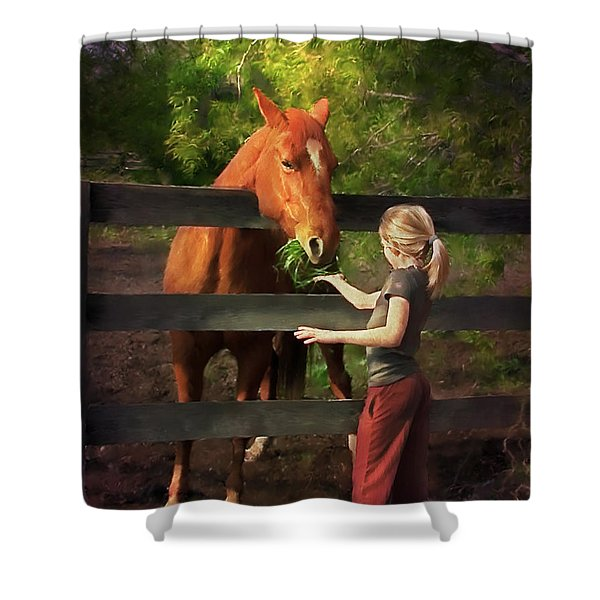 Blond With Horse Shower Curtain