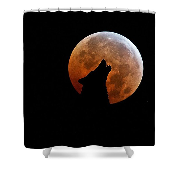 Blood Full Moon And The Wolf Shower Curtain