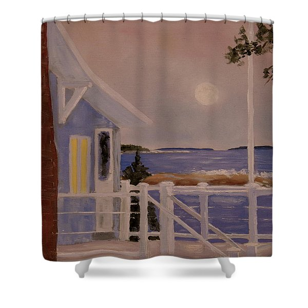 Blood Moon Over Muscongus Sound Shower Curtain