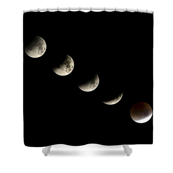 Bloodmoon Lunar Eclipse With  Phases Composite Shower Curtain