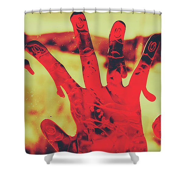 Bloody Halloween Palm Print Shower Curtain