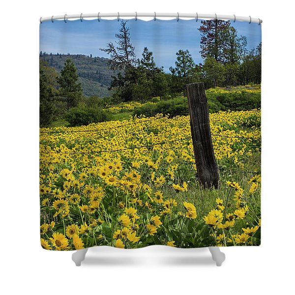 Blooming Fence Shower Curtain