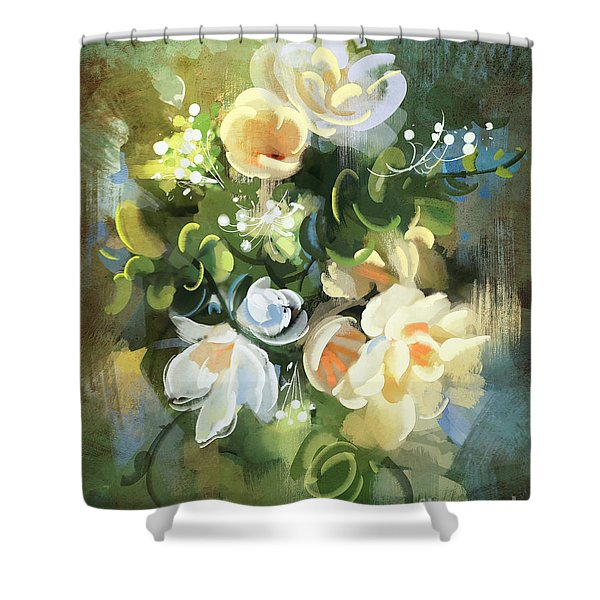Shower Curtain featuring the painting Blooming by Tithi Luadthong