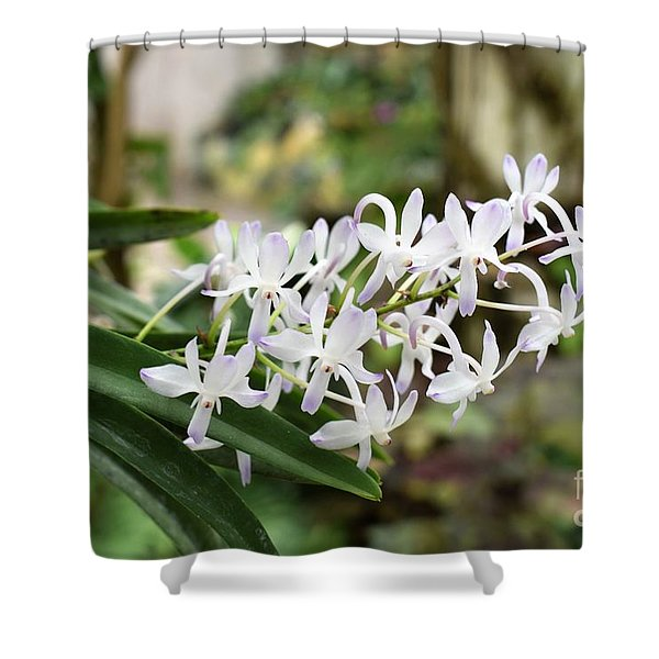 Blooming White Flower Spike Shower Curtain