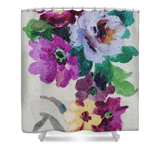 Shower Curtain featuring the mixed media Blossom Series No.6 by Writermore Arts