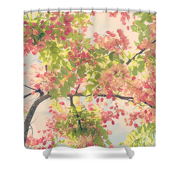 Blossoming Pink Shower Tree - Hipster Photo Square Shower Curtain