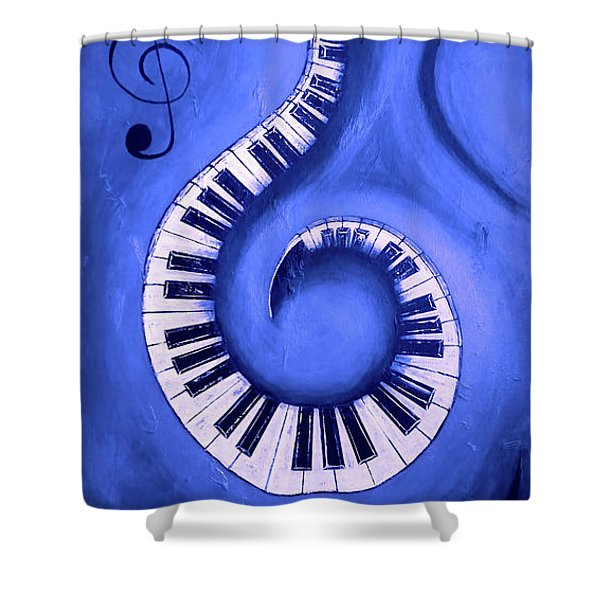 Blue 2 - Swirling Piano Keys - Music In Motion  Shower Curtain