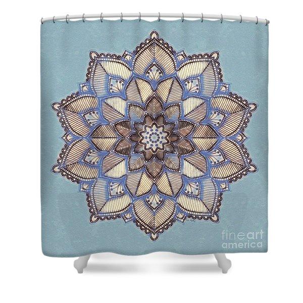 Blue And White Mandala Shower Curtain