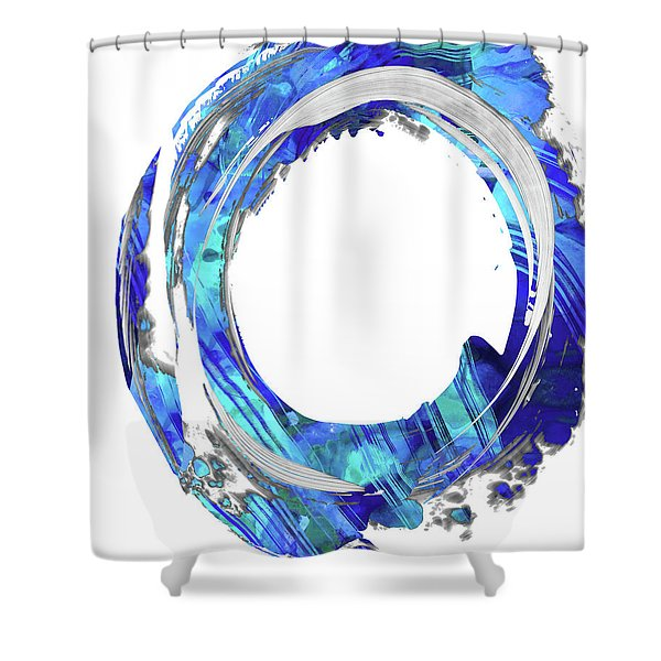 Blue And White Abstract - Swirling 1 - Sharon Cummings Shower Curtain