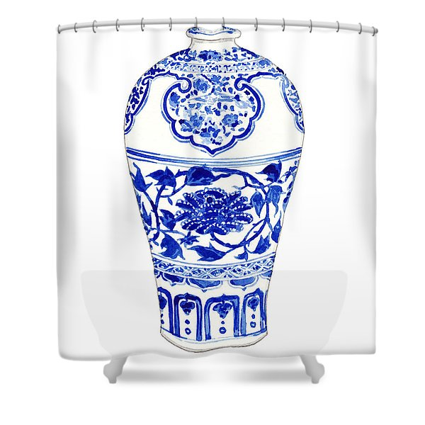 Blue And White Ginger Jar Chinoiserie 3 Shower Curtain
