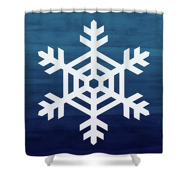 Blue And White Snowflake- Art By Linda Woods Shower Curtain