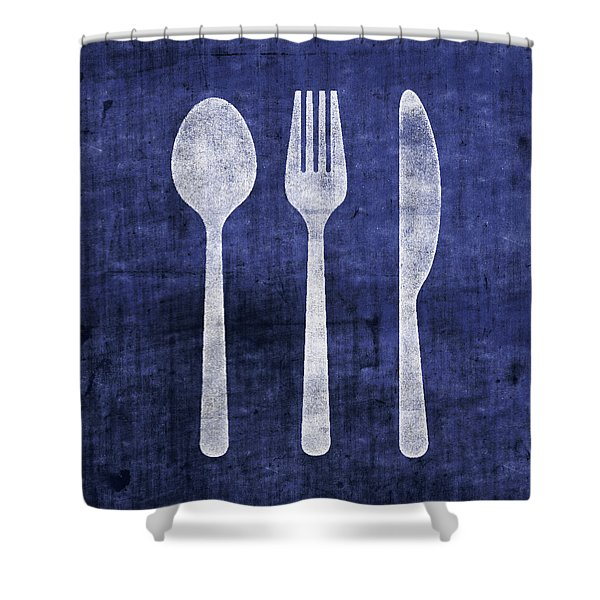 Blue And White Utensils- Art By Linda Woods Shower Curtain