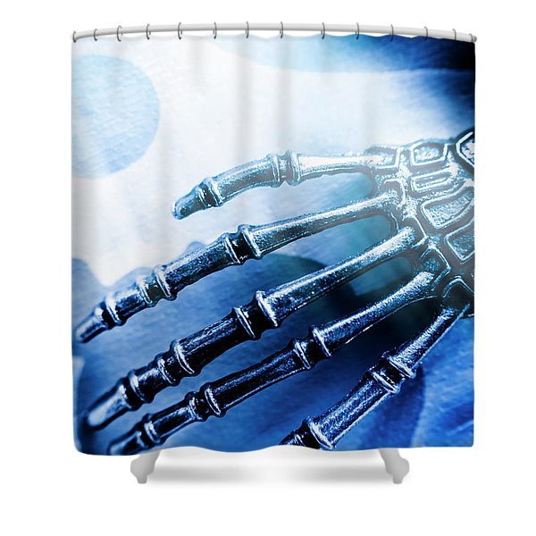 Blue Android Hand Shower Curtain