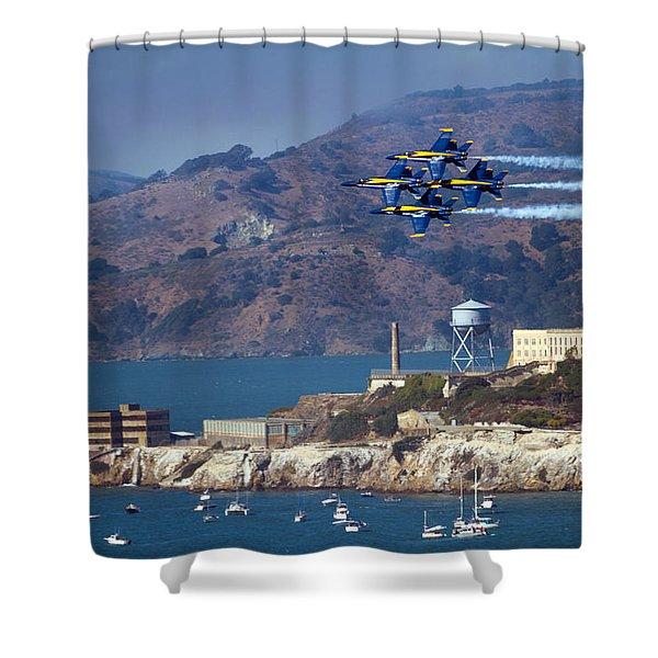 Blue Angels Over Alcatraz Shower Curtain