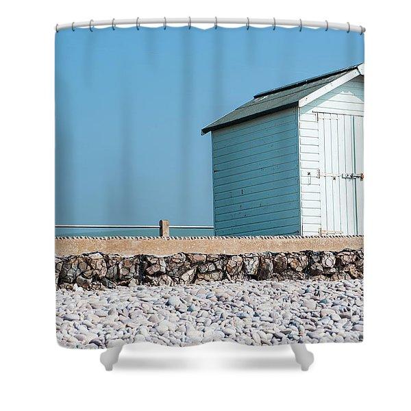 Blue Beach Hut Shower Curtain