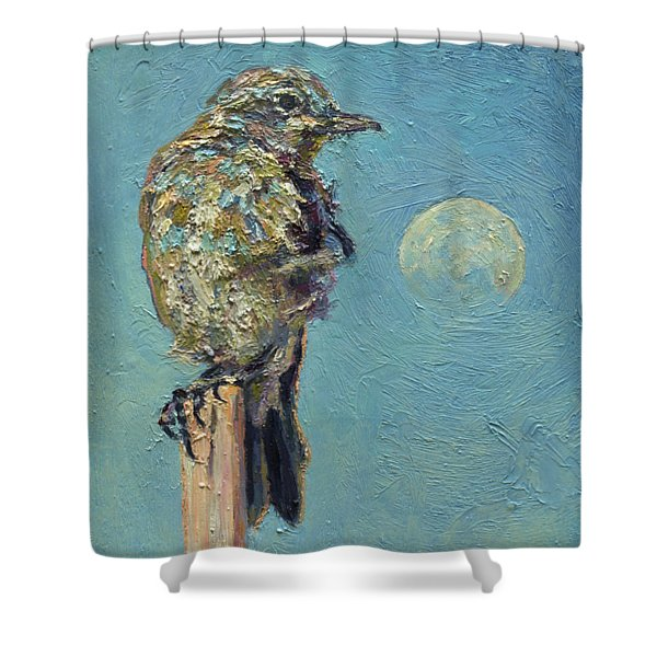 Blue Bird Moon Shower Curtain