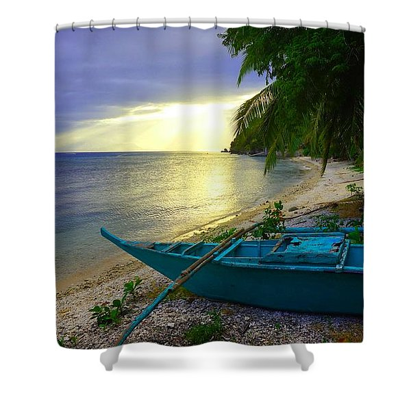 Blue Boat And Sunset On Beach Shower Curtain