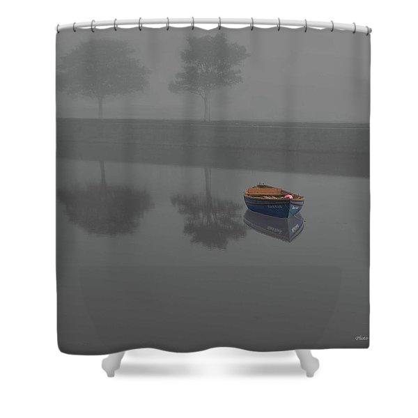 Blue Boat In Fog Shower Curtain