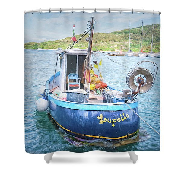 Blue Boat Shower Curtain