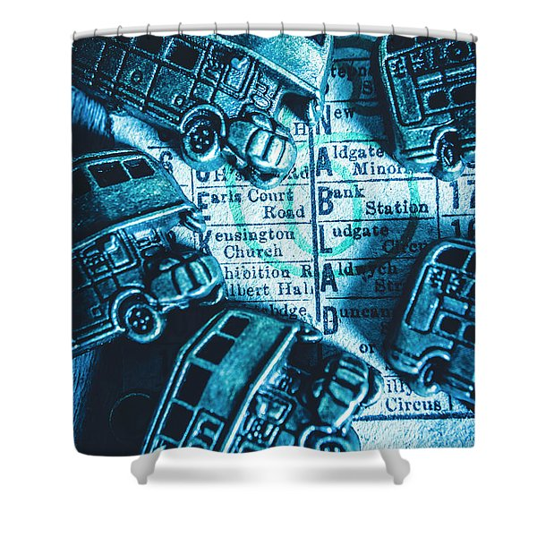 Blue Britain Bus Bill Shower Curtain