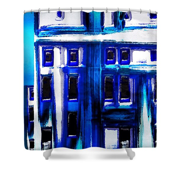 Shower Curtain featuring the painting Blue Buildings by Mark Taylor