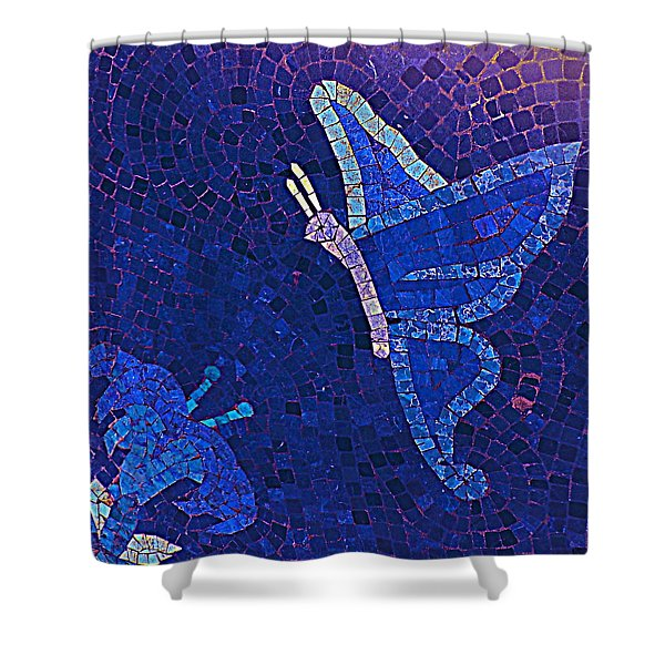 Blue Butterfly And Flower Shower Curtain