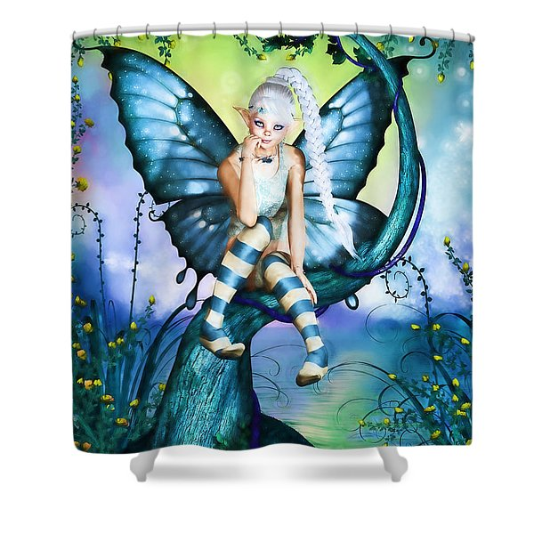 Blue Butterfly Fairy In A Tree Shower Curtain