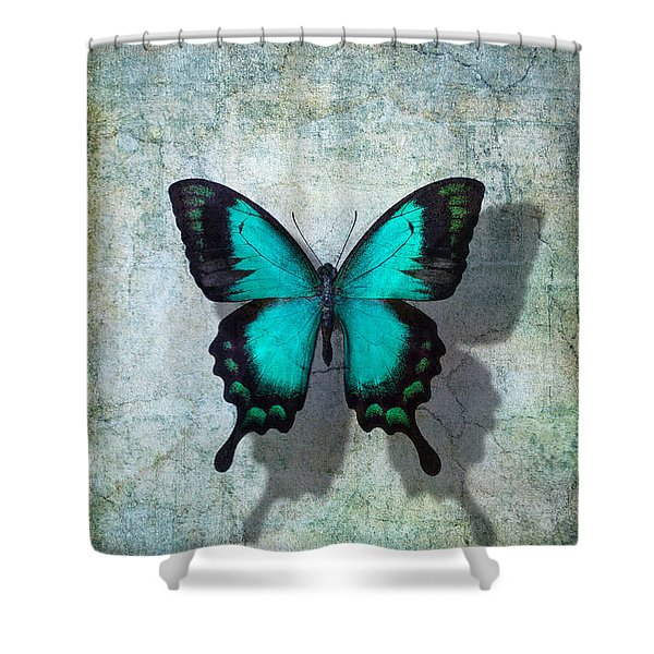 Blue Butterfly Resting Shower Curtain