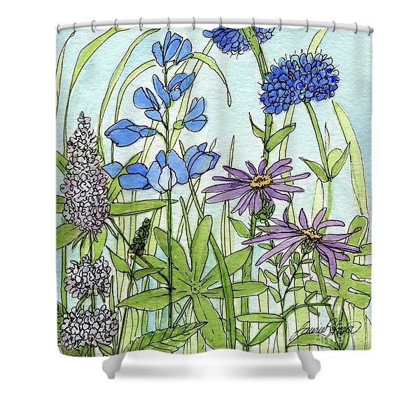 Blue Buttons Shower Curtain