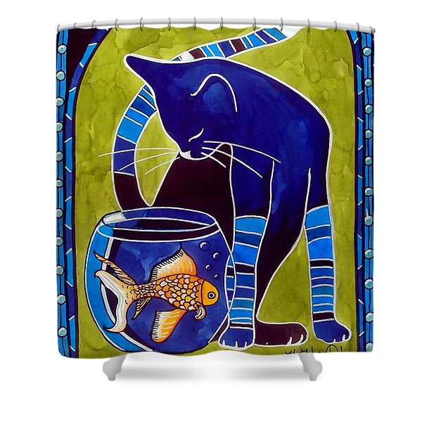 Blue Cat With Goldfish Shower Curtain