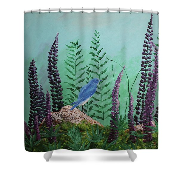 Blue Chickadee Standing On A Rock 1 Shower Curtain