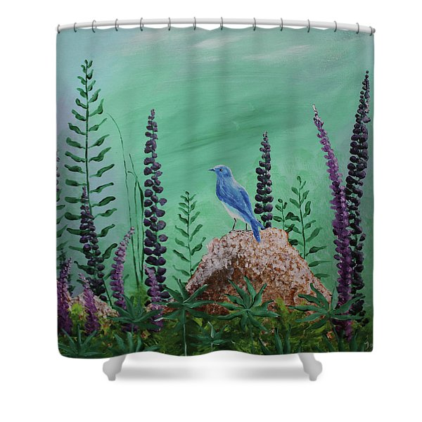 Blue Chickadee Standing On A Rock 2 Shower Curtain