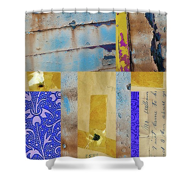 Blue Collage Shower Curtain