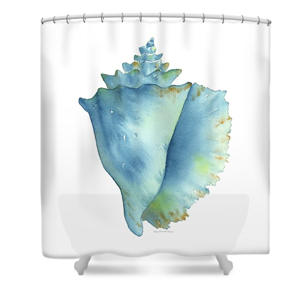 Blue Conch Shell Shower Curtain