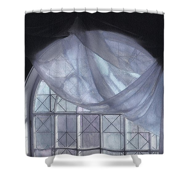 Hand-painted Blue Curtain In An Arch Window Shower Curtain