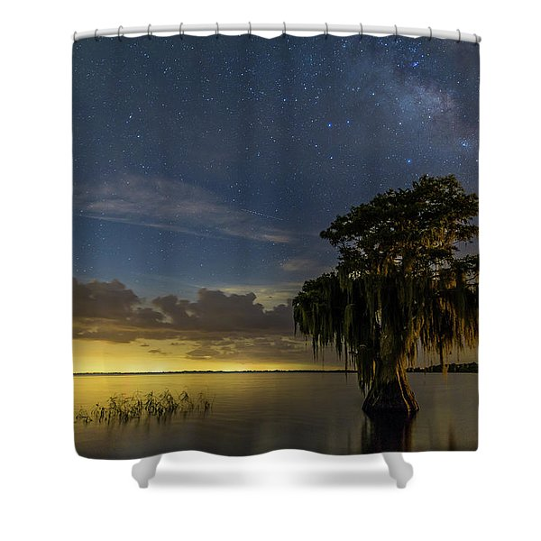 Blue Cypress Lake Nightsky Shower Curtain