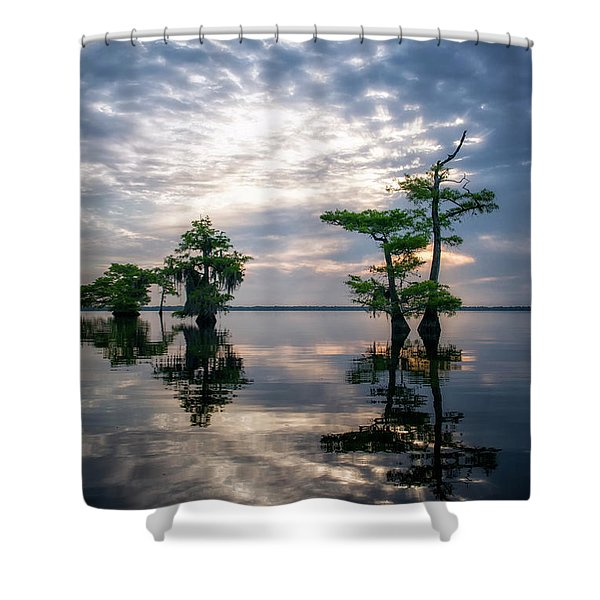 Blue Cypress Sunrise #1 Shower Curtain