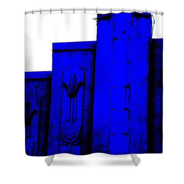 Blue Deco Shower Curtain