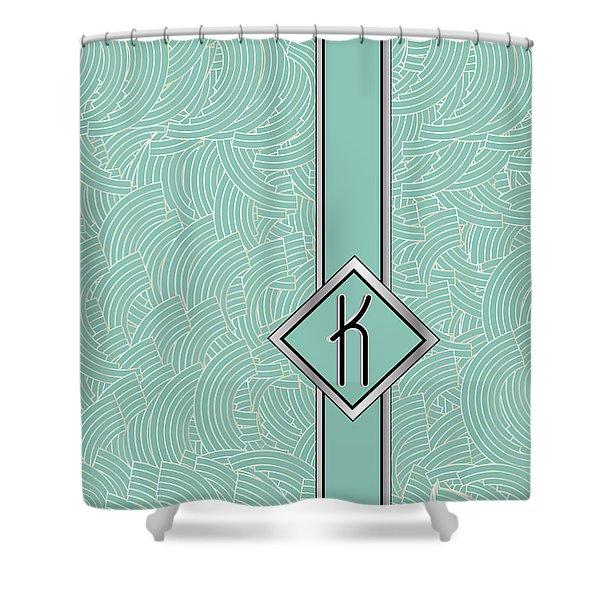 1920s Blue Deco Jazz Swing Monogram ...letter K Shower Curtain