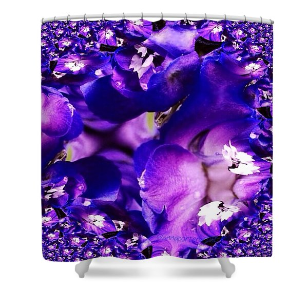 Blue Delphinium Abstracted Shower Curtain