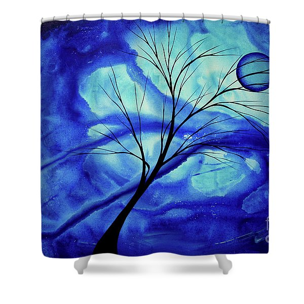 Blue Depth Abstract Original Acrylic Landscape Moon Painting By Megan Duncanson Shower Curtain