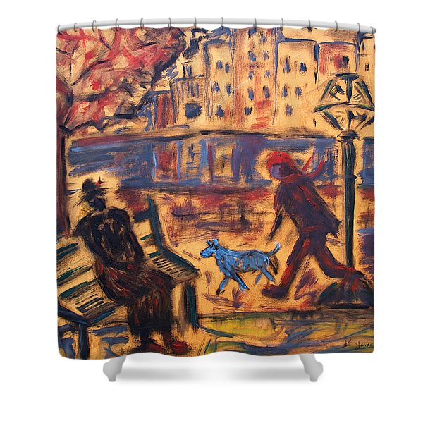 Blue Dog In The City Shower Curtain