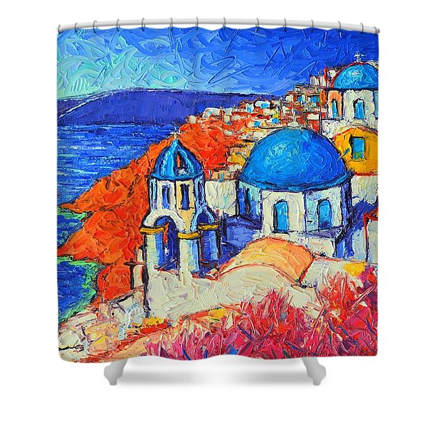 Blue Domes In Oia Santorini Greece Original Impasto Palette Knife Oil Painting By Ana Maria Edulescu Shower Curtain
