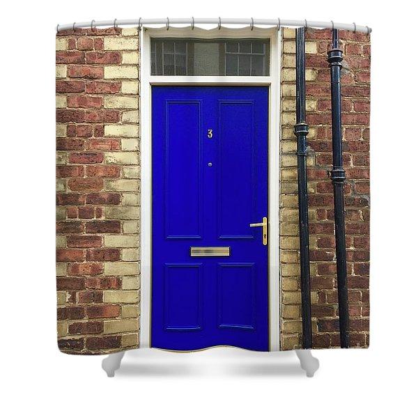 Blue Door Number 3 Shower Curtain