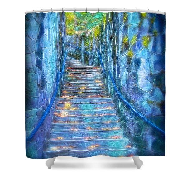 Blue Dream Stairway Shower Curtain