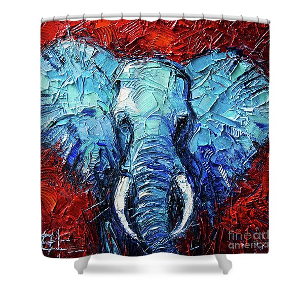 Blue Elephant Palette Knives Impasto Abstract Oil Painting Shower Curtain